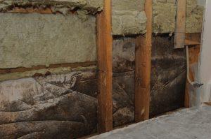 Kivimuuria vasten oli laitettu muovit, jotka aiheuttivat ajan kuluessa laajan homevaurion.