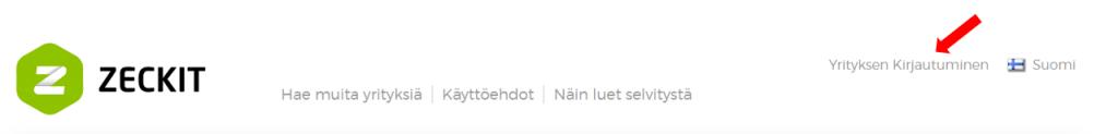 """Avaa yrityksesi Zeckit-selvitys. Valikon oikeassa yläkulmassa lukee """"Yrityksen kirjautuminen"""". Sieltä pääset kirjautumissivulle, missä lukee: """"Kirjaudu palveluun Tilaajavastuu.fi:n käyttäjä- ja salasanatunnuksillasi"""". Jos olet uusi käyttäjä, aloita rekisteröimällä yrityksesi Tilaajavastuu.fi-palveluun."""