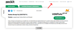 Yritystietojen muokkaus Yläpalkki